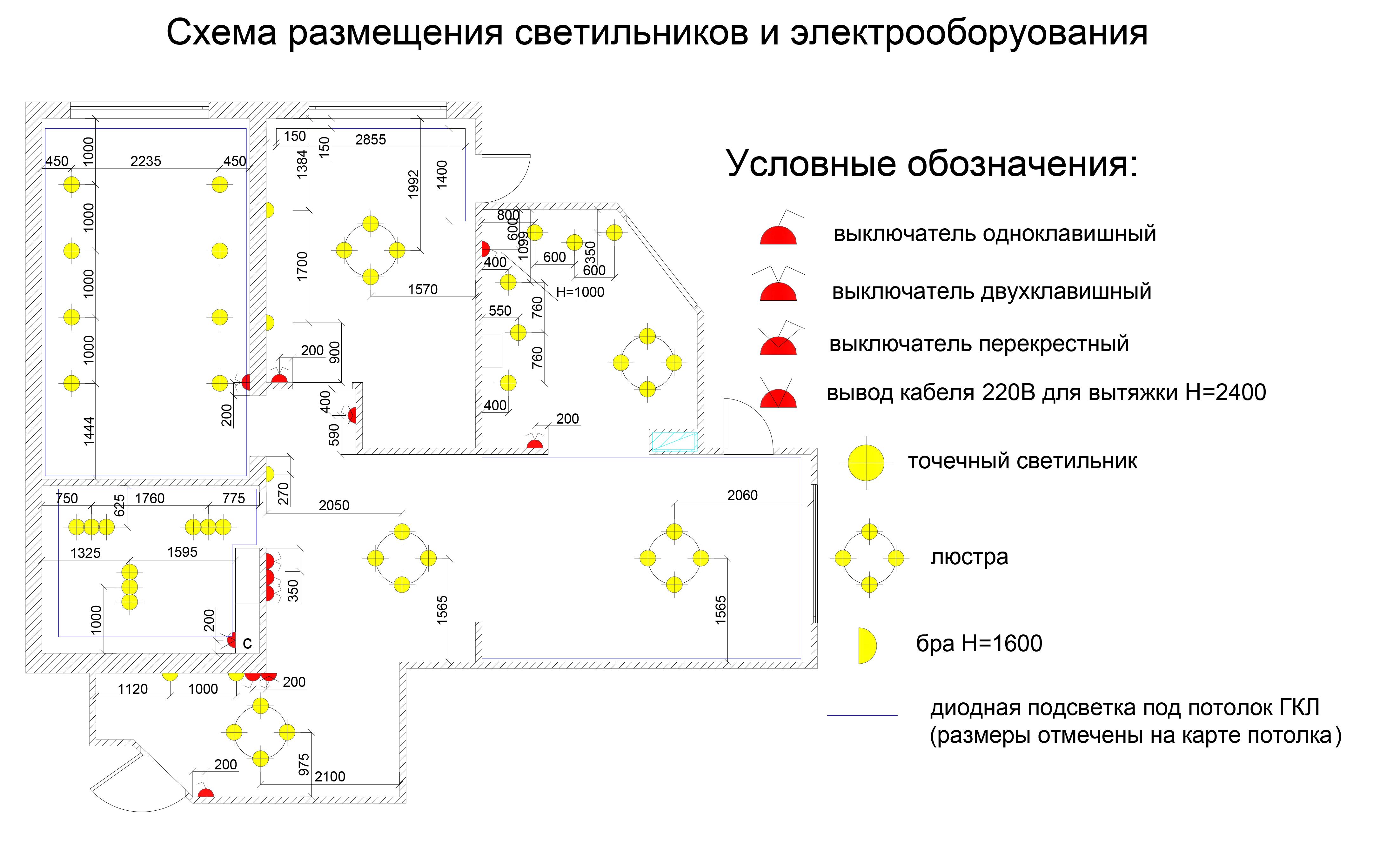 Схемы расположения точечных светильников на натяжном