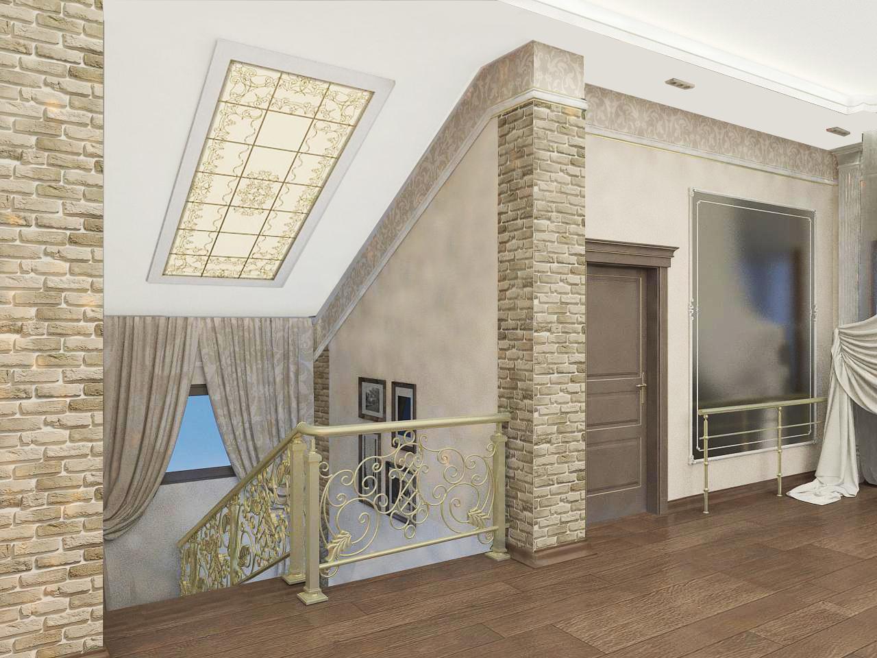 Ремонт лестница и хол второй этаж частный дом в Ялте